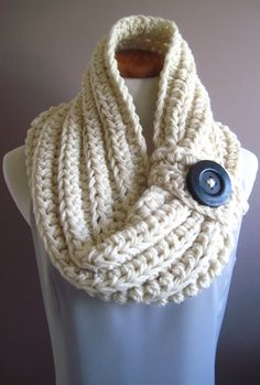 Chunky Bulky Button Crochet Cowl:  Off White with Black Wood Button, via Etsy