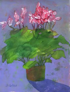 """""""Cyclamen"""" acrylic painting by Sharon Giles Crafts For Kids, Arts And Crafts, Flora Flowers, Acrylic Paintings, Flower Art, Vines, Florals, Art Photography, Cactus"""