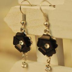 Black Resin Flower Ladies' Drop Earrings