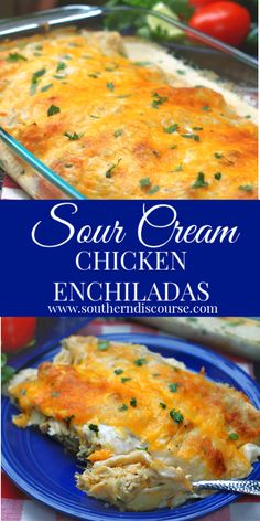 Simply Authentic Sour Cream Chicken Enchiladas - a southern discourse dinner recipes Simply Authentic Sour Cream Chicken Enchiladas - a southern discourse Mexican Dishes, Mexican Food Recipes, Dinner Recipes, Mexican Desserts, Drink Recipes, Italian Recipes, Dinner Ideas, Sour Cream Chicken, Sour Cream Sauce
