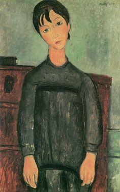 Little Girl in Black Apron - 1918 Kunstmuseum Basel - Painting - oil on canvas