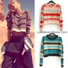 Vintage Woman Aztec Coloured Striped Jacquard-knit Crop Sweater Knitwear Jumper   eBay