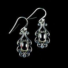 925 Sterling Silver Natural Rhodolite Garnet Gemstone Handmade Earrings Jewelry #Handmade #DropDangle #Party
