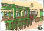 Irish Pub Sketch, cosy little pub using lots of painted timbers, warm rich colours Pub Design, Restaurant Design, Building Design, Cosy, Craftsman, Irish, Pergola, Custom Design, Sketches