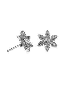 Lily & Lotty: Christina silver & diamond snowflake earrings