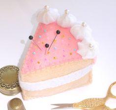 Slice Vanilla Sponge Cream Cake Felt Food Pincushion / Decoration - by TheVintageThimble on madeit