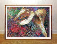 Shell wall art print scuba ocean abstract fishing boating