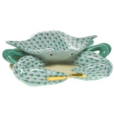 "Herend Hand Painted Porcelain Figurine ""Crab"" Green Fishnet Gold Accents."