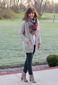 A blanket scarf is perfect with this oh so cozy cardigan from Target.