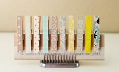 Set of 10 Washi Tape Covered Clothespins Small by ThurstonPost