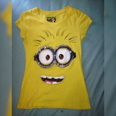 Despicable Me Minion Shirt Minion t-shirt with silicone goggles, doesn't bother your belly. Worn 2-3 times. Comfortable and cute. Willing to negotiate! ❤️ Universal Studios  Tops Tees - Short Sleeve