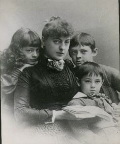 Georgiana Drew Barrymore, and children Ethel, Lionel and John Barrymore.