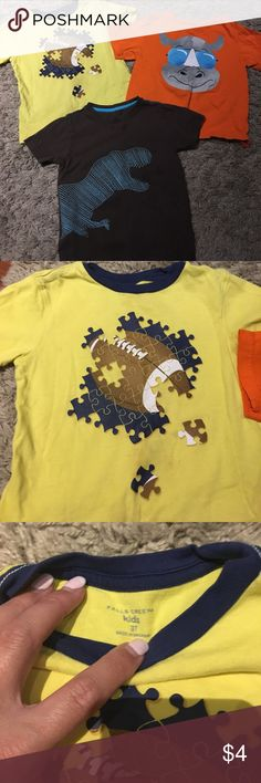 3t Boys Lot of Short Sleeve Tees! (3) 3t Boys short sleeve tees for cheap! Orange tee is brand new. Yellow tee has small pen mark near bottom that will likely come out with wash. Dinosaur was loved greatly and has spots near collar. Price reflects. Great deal! Shirts & Tops Tees - Short Sleeve