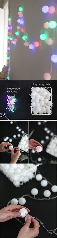 Ping Pong Balls over String Lights - 20 Jaw-Dropping DIY Christmas Party Decorations | GleamItUp