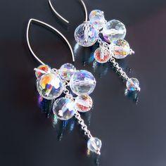 Statement Earrings: prismatic disco ball Swarovski crystal long dangle statement earrings. #bling