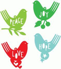 Silhouette Online Store - peace joy hope love bird ornaments set.