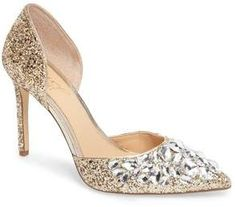 JEWEL BADGLEY MISCHKA Upton Embellished Pump  Sparkling crystals shimmer and shine on a scene-stealing d'Orsay pump lofted by a tall stiletto heel. $109.95