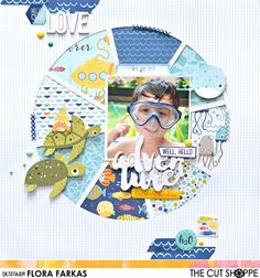 Boy themed scrapbook layout made with @bellablvd Secrets of the Sea collection and The Cut Shop Full Circle cut file.  | Flora Monika Farkas