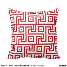 Ancient Greek Key Pattern Motif - Red Throw Cushions
