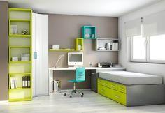 chambre aux tons pastels colorés et gris