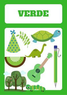 ficha para aprender el color verde con niños