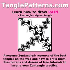 Step-by-step instructions to learn how to draw the Zentangle-original tangle pattern: Rain
