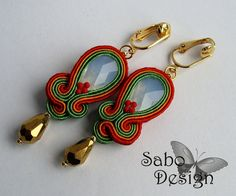 Soutache earrings / ear clips Swarovski handmade in by SaboDesign, $53.90