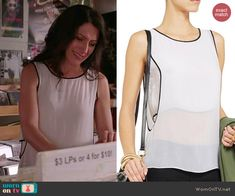 Abby's white layered top with black trim on Girlfriends Guide to Divorce.  Outfit Details: http://wornontv.net/42562/ #GG2D