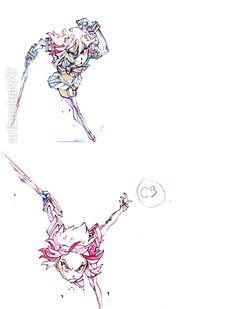 artbooksnat: Kill la Kill (キルラキル) animation layout corrections of Ryuko Matoi with Senketsu by Akira Amemiya (雨宮哲) working as the director for episode #3. Layouts showcased in Quarterly S Magazine (Amazon JP).
