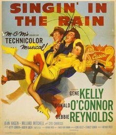 Cartel de la película musical Cantando bajo la lluvia. 1952