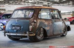 Morris Cooper Mini Cooper custom drag car named 'Critter'. This car looks like it would be more fun than man was ever meant to have!