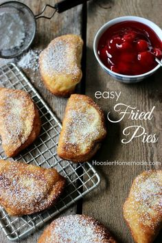 Only 2 ingredients is all you need for these Easy Fried Pies (plus a little flour for rolling and oil to cook them in). Perfect for a super quick dessert! Be sure to save by pinning to your Recipe Board!