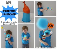 Pom Pom Launcher! Hours of fun - made in 5 minutes!