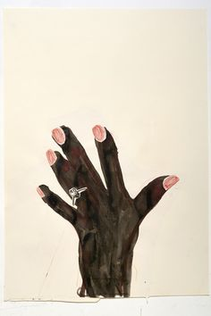 Rose Wylie, Black Hand and Diamond Ring, 2012, Ink, coloured pencil and collage on paper, 33.5 x 23.5 in (85.1 x 59.7 cm). Courtesy of the…