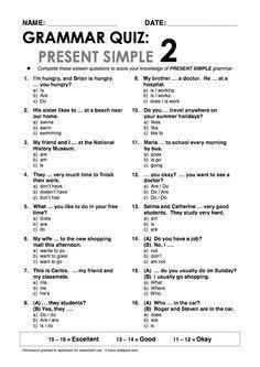 Present Simple 2 Grammar Quiz