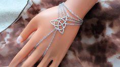 Triquetra Slave Bracelet, Celtic Knot Ring Bracelet, Hand Piece Chain
