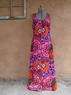 Vintage 1960s Hawaiian Dress Psychedelic Neon by bycinbyhand, $65.00