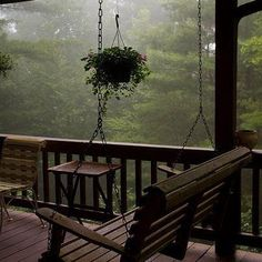 Imagine waking up in a cozy cabin in the mountains and walking out into this porch with hot tea in hand, inhaling the fresh smell of an early morning rain :) Peaceful. ~ yes, i want a porch like this and a swing. I always love sitting on the porch. Outdoor Spaces, Outdoor Living, Outdoor Decor, Outdoor Kitchens, Beautiful Homes, Beautiful Places, Beautiful Scenery, Cozy Room, Cozy Cabin