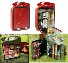 Jerry can becomes Drinky can Camping Accesorios, Jerry Can Mini Bar, Ammo Cans, Camping Survival, Industrial Furniture, Cool Diy, Metal Working, Inventions, Diy And Crafts