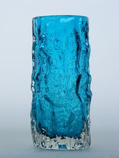 """6"""" tall Whitefriars bark effect glass vase. Pattern number 9689. Designed by Geoffrey Baxter"""