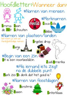 Hoofdletters en leestekens Watch your spelling. Learning Activities, Kids Learning, Learn Dutch, Dutch Language, School Posters, School Hacks, Primary School, Kids Education, Homeschool