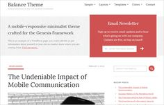 Balance #WordPress theme from Studiopress has prominent yet colorful email subscribe box. #genesiswp