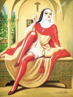 Clovis Trouille, Religieuse italienne fumant la cigarette
