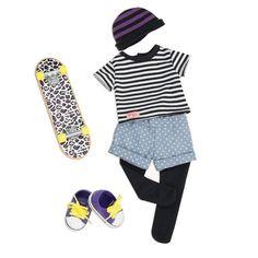 Cena: 79.00zł. Eksresowa wysyłka od ręki. ZESTAW UBRANEK DLA LALKI 46CM Z DESKOROLKĄ - THAT'S HOW I ROLL... więcej na www.Tublu.pl #ourgeneration #our #generation #dolls #clothes  #lalka #lalki #ubranka #accesories #akcesoria American Girl Outfits, American Girl Doll Sets, American Doll Clothes, Ag Doll Clothes, Skater Outfits, Sport Outfits, Our Generation Doll Accessories, Our Generation Doll Clothes, Cosas American Girl