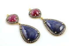 Genuine Natural Ruby & Sapphire in White Topaz Fancy by Beadspoint, $299.99