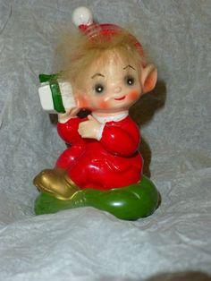 Vintage Josef Original Japan Sitting Christmas Elf with Gift Box and Fur Hair | eBay