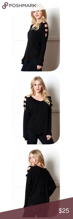 V-neck Cutout Shoulder Long Sleeve Top Fall Classic- Black long sleeve top with trendy cut out shoulders!!  95% rayon 5% spandex, true to size fit! Tops Tunics