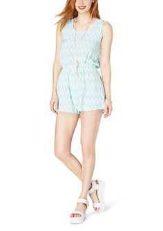 image of Mint Chevron Lattice Romper