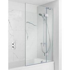 Product details for Ten Hinged Bath Screen (Finish: Silver finish frame) with SKU Bathroom Shower Panels, Shower Over Bath, Bathroom Fixtures, Shower Tub, Bathroom Closet, Upstairs Bathrooms, Rustic Bathrooms, Modern Bathroom, Bathroom Ideas