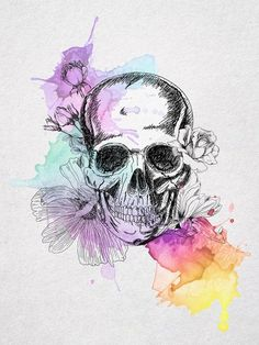 neo traditional shull and flowers watercolor tattoos | Skull And Flowers watercolor drawing... Would make a nice ...